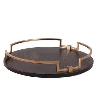 "G Home Collection Luxury Brown Leather Round Decorative Tray 14.6""X2.4"""
