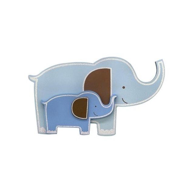 """Babies""""R""""Us Elephant Wall Decor Wooden Nursery - Blue Multi. Opens flyout."""