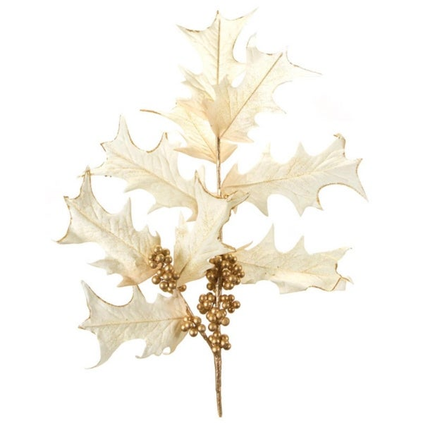 """Pack of 4 Ivory and Gold Holly Berry Artificial Decorative Christmas Spray 35"""" - WHITE"""