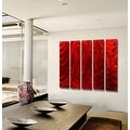 Statements2000 Huge Red 5 Panel Metal Wall Art Painting by Jon Allen - Red Hypnotic Sands Epic - Thumbnail 6