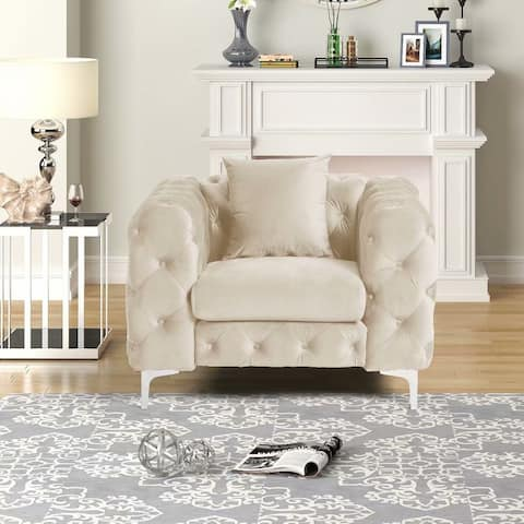 Morden Fort Modern Contemporary Accent Chair with Deep Button Tufting Dutch Velvet, Solid Wood Frame and Iron Legs