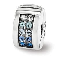 Sterling Silver Reflections Swarovski Elements Channel Blues Clip Bead (4mm Diameter Hole)