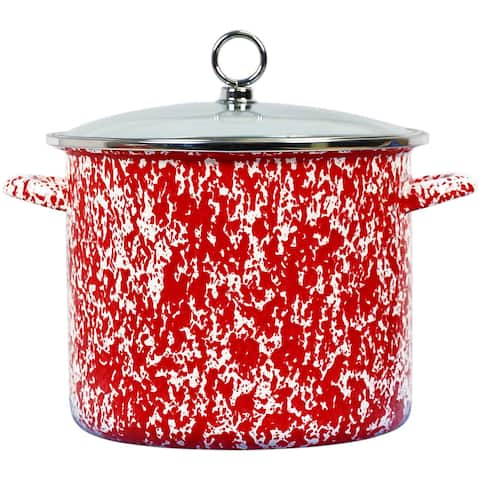 Calypso Basics by Reston Lloyd Vintage Marble Enamel on Steel Stockpot with Glass Lid, 8-Quart, Red