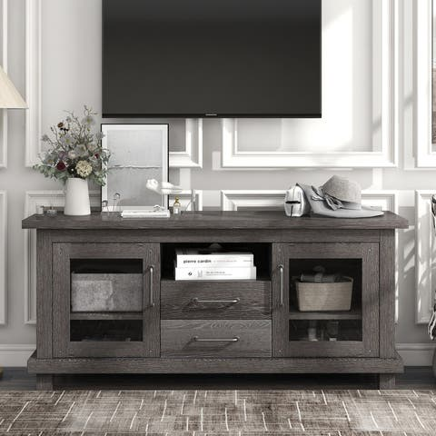 TV Stand with 2 Drawers and Shelves Glass Doors and Adjustable Shelf
