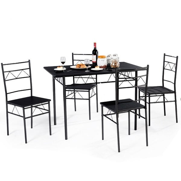 5 Piece Dining Set Wood Metal Frame Table And 4 Chairs: Shop Costway 5 Piece Dining Table Set 4 Chairs Wood Metal