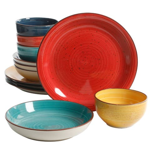 Gibson Swirl Speckled 12pc Mix and Match Double Bowl Dinnerware Set