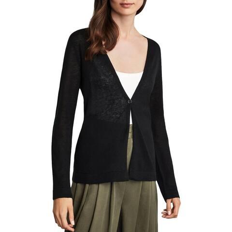 BCBG Max Azria Womens Cardigan Sweater Linen Blend Long Sleeve