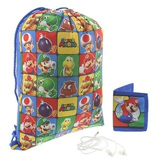 Super Mario Boys Drawstring Cinch Backpack Headphones and Wallet Gift Set