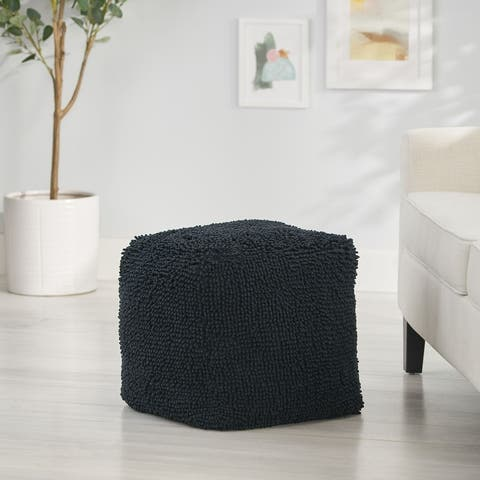 Moloney Modern Microfiber Chenille Square Pouf by Christopher Knight Home