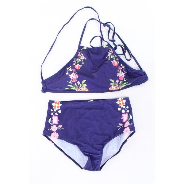 de4e4b85b1f5a Shop Designer Navy Blue Women's Size XL Floral Print Two Piece Swimwear -  On Sale - Free Shipping On Orders Over $45 - Overstock - 27046401