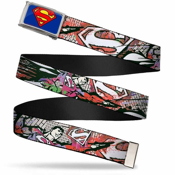 Superman Fcg Blue Chrome Superman Color Flying Bricks Scene Webbing Web Belt
