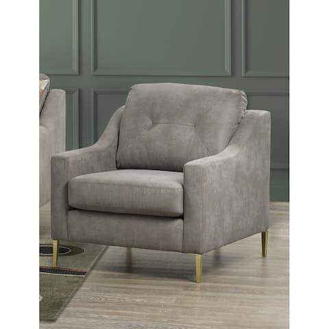 Weston Retro-Modern Grey Fabric Tufted Chair