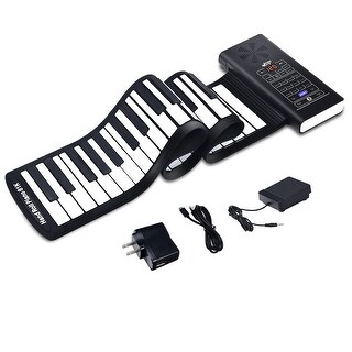 61 Key Electronic Roll Up Piano Keyboard Silicone Rechargeable Bluetooth w/Pedal - black