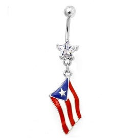"Surgical Steel and Star Gem Navel Belly Button Ring with Epoxy ""Flag of Puerto Rico"" Dangle (Sold Ind.)"
