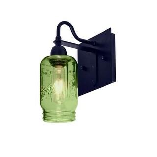 Besa Lighting 1WG-MILO4GR Milo Single Light Wall Sconce with Green Glass Jar Shade