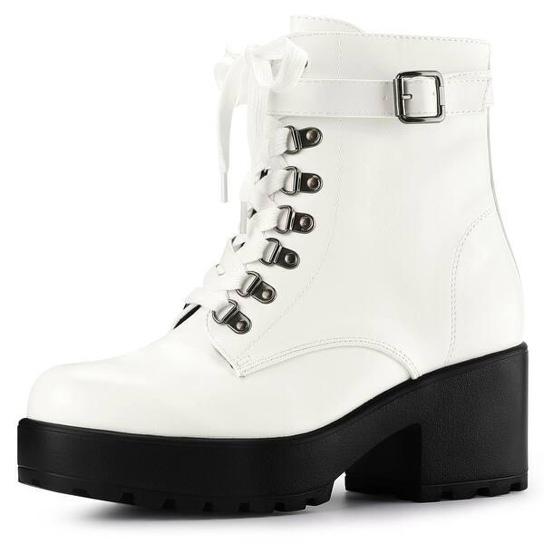 Allegra K Women/'s Zip Chunky Heel Platform Ankle Combat Boots