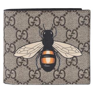 c2474a0d821 Shop Gucci Men s Beige GG Supreme Canvas Large Bee Logo Bifold Wallet -  4.25