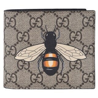 "Gucci Men's Beige GG Supreme Canvas Large Bee Logo Bifold Wallet - 4.25""x3.5"""