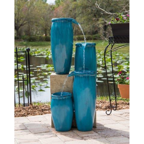 """Mezzo 36"""" Indoor/ Outdoor 4-Tier Floor Fountain - Textured Blue"""