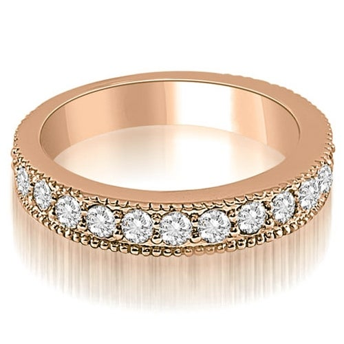 1.05 cttw. 14K Rose Gold Antique Milgrain Round Cut Diamond Wedding Ring