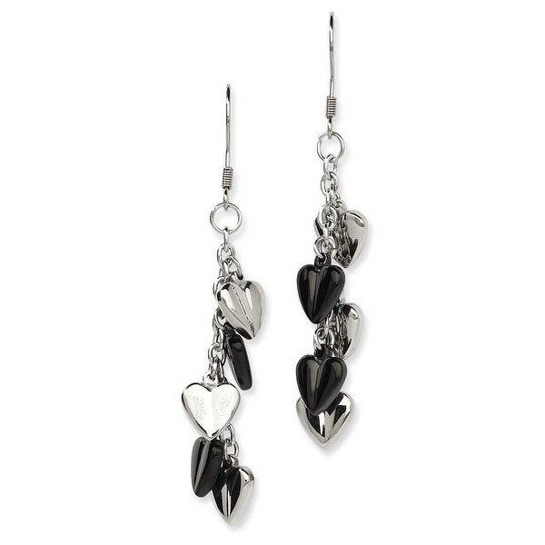 Chisel Stainless Steel Black IP Plating & Polished Hearts Dangle Earrings