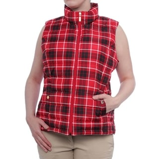 Charter Club Zip-Front Lucy Puffer Vest Vest New Red Amor Combo