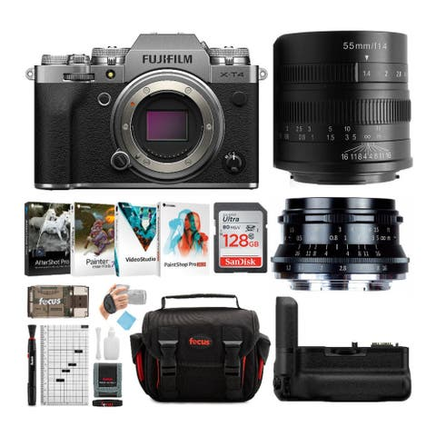 Fujifilm X-T4 Mirrorless Camera Body with 35mm and 55mm Lenses Bundle
