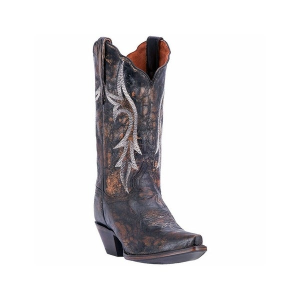 Dan Post Western Boots Women Knockout Distressed Snip Toe Black