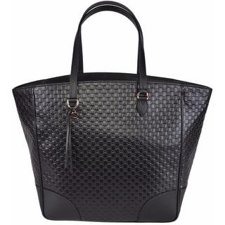 Gucci Women's 449242 Large Black Leather Bree Micro GG Guccissima Purse Bag