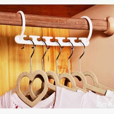 Multi-functional five-hole Hanger Rotatable Folding Plastic Cascading Clothing Hanger, Space-Saving Closet Organizer(5pcs)
