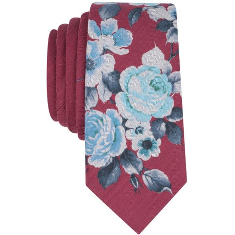 bar III Mens Para Floral Self-tied Necktie, red, One Size - One Size