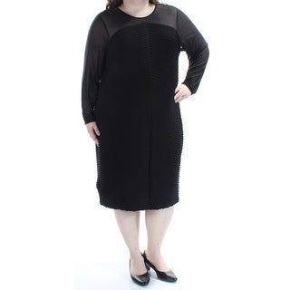 CALVIN KLEIN Womens Black Textured Long Sleeve Jewel Neck Below The Knee Sheath Formal Dress Plus Size: 22W