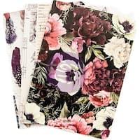 Prima Traveler's Journal Personal Refill Notebook 3/Pkg-Midnight Garden, Monthly/Weekly/Blank