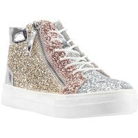 Nina Girls' Hylda High Top Silver Metallic/Multi Chunky Glitter