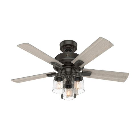"""Hunter 44"""" Hartland Ceiling Fan with LED Light and Pull Chains"""