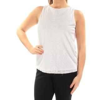 RALPH LAUREN $79 Womens New 1827 White Geometric Textured Sleeveless Top M B+B