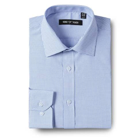 Mens Dress Shirt Slim Fit Checkered Long Sleeve Dress Shirts For Men