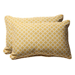 Pack of 2 Eco-Friendly Yellow and White Geometric Outdoor Throw Pillows 24.5""