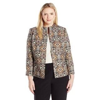 Kasper Plus Size Printed Jacquard Open Front Blazer Jacket - 16W