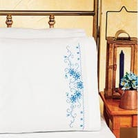 "Blue Floral - Stamped Cross Stitch Pillowcase Pair 20""X30"""