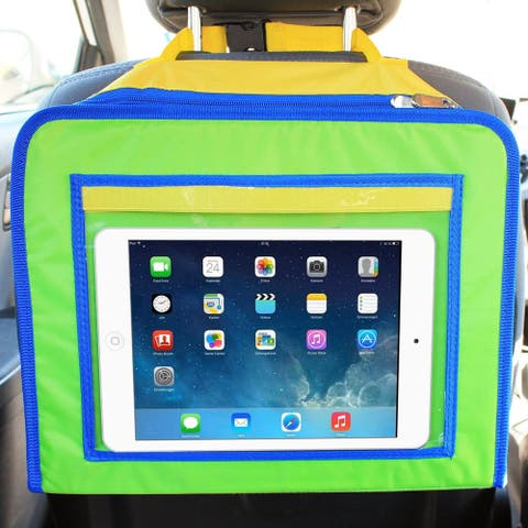 Skiva Kids Travel Tray and Backseat Car Organizer, Children's Snack Desk for Road Trips and Air Travel, iPad & tablet holder