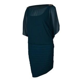 R&M Richards Women's Embellished Chiffon Shutter Jersey Dress