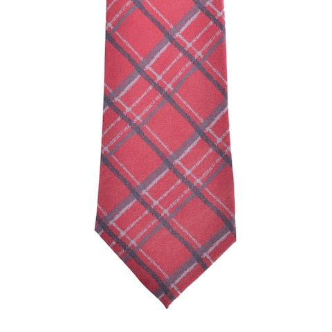 Isaia Napoli Mens Red Satin Plaid Check Silk Handmade 7 Fold Tie~RTL$275 - One Size