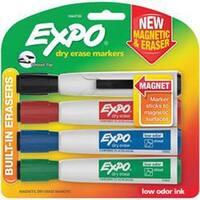 Assorted - Magnetic Dry Erase Chisel Marker With Eraser 4/Pkg