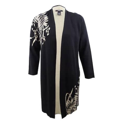 Alfani Women's Plus Size Intarsia-Knit Long Cardigan - Black/Soft Clay