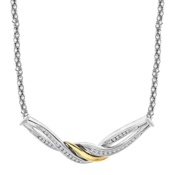 1/5 ct Diamond Necklace in Sterling Silver & 14K Gold