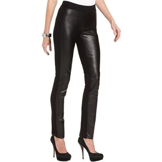 NYDJ Womens Leggings Faux Leather Front Ponte