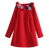 Richie House Baby Girls Red Rosette Collar Smock Dress 12M