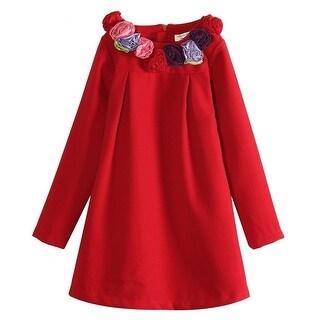 Richie House Baby Girls Red Rosette Collar Smock Dress 12M