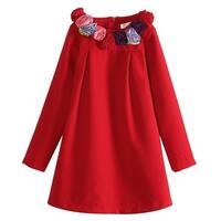 Richie House Little Girls Red Rosette Collar Smock Dress 2-5